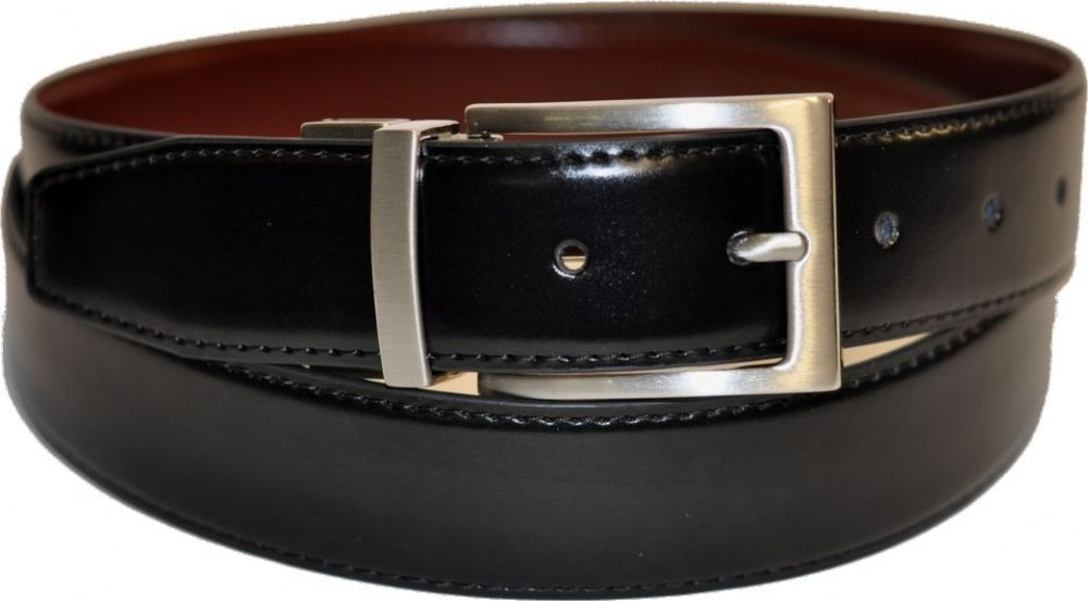 Mens 34mm Twist Reversible Black/Brown Leather Belt